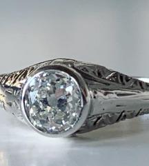 dijamantni prsten, ca .65 karata,  art deco