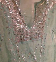 INDIA sequin pastelno mint tunika kašmir motiv
