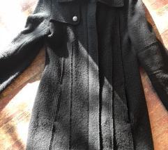 Max&CO Crni kaput s patent kopčanjem 100% vuna 40