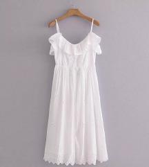 Bijela duga haljina čipkasta 36