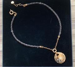 SNIZENO  Joop ogrlica pozlaćeno srebro, koža