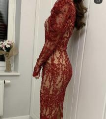 Unique haljina midi crvena (postarina ukljucena)