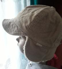 Pamučna topla svjetlosmeđa samt kapa