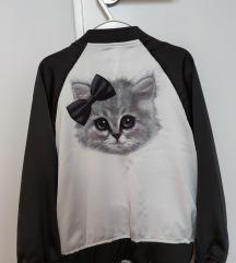 Svilena jakna crno bijela sa mačkicom