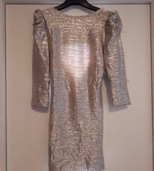 Srebrna večernja haljina s pufnastim rukavima 36