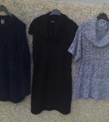 LOT dvije dulje veste /tunike i pletena haljina