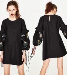 ZARA crna haljina / izvezena / pamuk