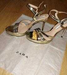 Zara zlatne sandale s visokom petom,41