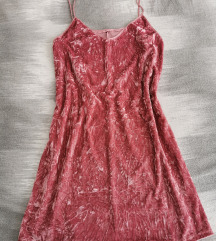 Roza pliš haljina S