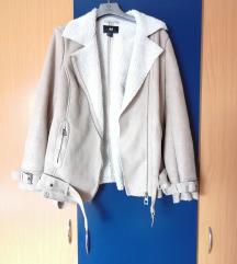 H&M bež jakna od brušene kože