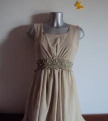 NOVA bež elegantna haljina