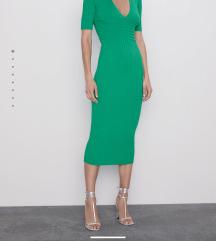 Zara midi rebrasta zelena haljina