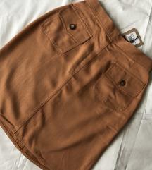 Suknja konjak boje, s etiketom