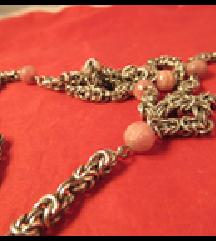 Srebrna ogrlica, lanac, rozenkvarc perle