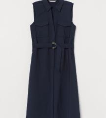 H&M tamnoplava midi haljina