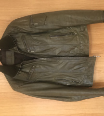 Maslinasto zelena kožna jakna