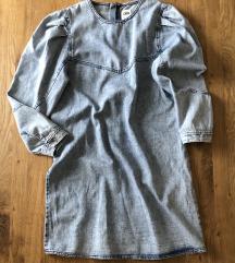 Zara jeans haljina s balon rukavima