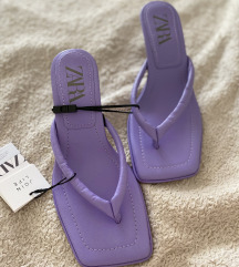 Zara sandale na petu od prave kože 37
