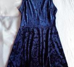 Tamnoplava plišana haljina