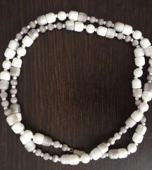 Bijelo-siva staklena narukvica