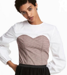 H&M bijela bluza kao korzet- balon rukavi