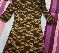 Čipkasta crno smeđa haljina