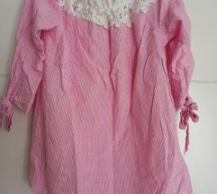 Rozo-bijela bluza s čipkom