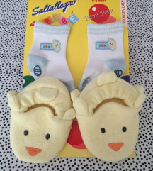 Papučice i čarapice za bebe - novo 0-6mj