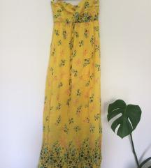 Duga ljetna svilena haljina bez naramenica