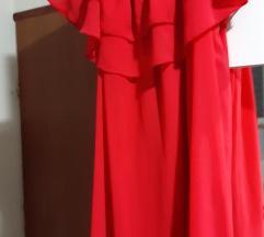 Haljina crvena sa volanom