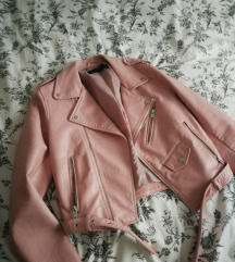 Zara roza kožna jakna