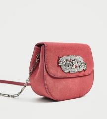 ZARA pink torbica od brušene kože