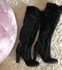 Visoke crne kožne čizme