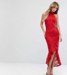 crvena midi haljina, vel. 38