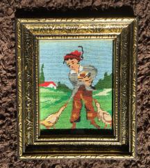 Goblen u baroknom okviru - Dječak s guskama