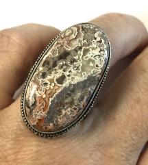 Posrebren filigran prsten & crazy lace ahat