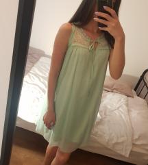 Pastelno zelena lagana haljina S