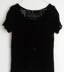 Crna pletena rupičasta vesta 36 HM