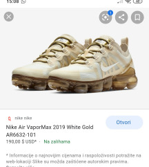 Nike air VapoMax White gold