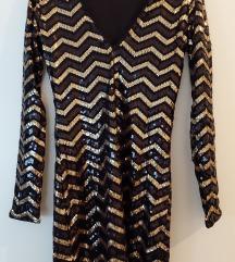 H&M crnozlatna uska haljina