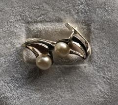 Antikne nausnice zlato srebro biser%