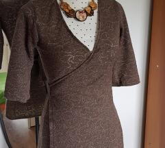 Smeđa rupičasta tunika na vezanje