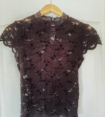 Zara crna čipkasta bluza M