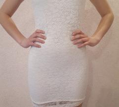 Nova bijela čipkasta haljina S