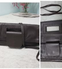 BATA tamno smeđa torba,prava koža, uklj.Tisak