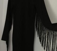 Crna bodycon haljina s resama