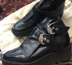 ZARA crne kožne gležnjače/čizme (BALENCIAGA like)
