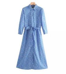 Plava haljina s bijelim uzorkom / slanje uklj.