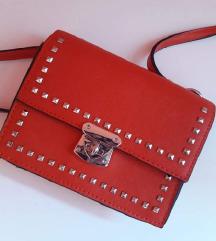 NOVA crvena torbica sa zakovicama - SALE%%
