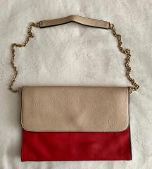 Kožna pismo crveno/bež torbica (SNIZENO)